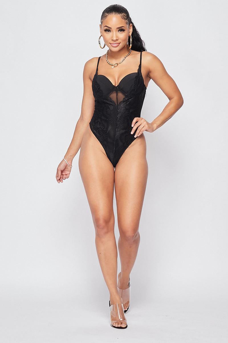 Sexy Cami Bustier Bodysuit-BLACK - Fashion House USA