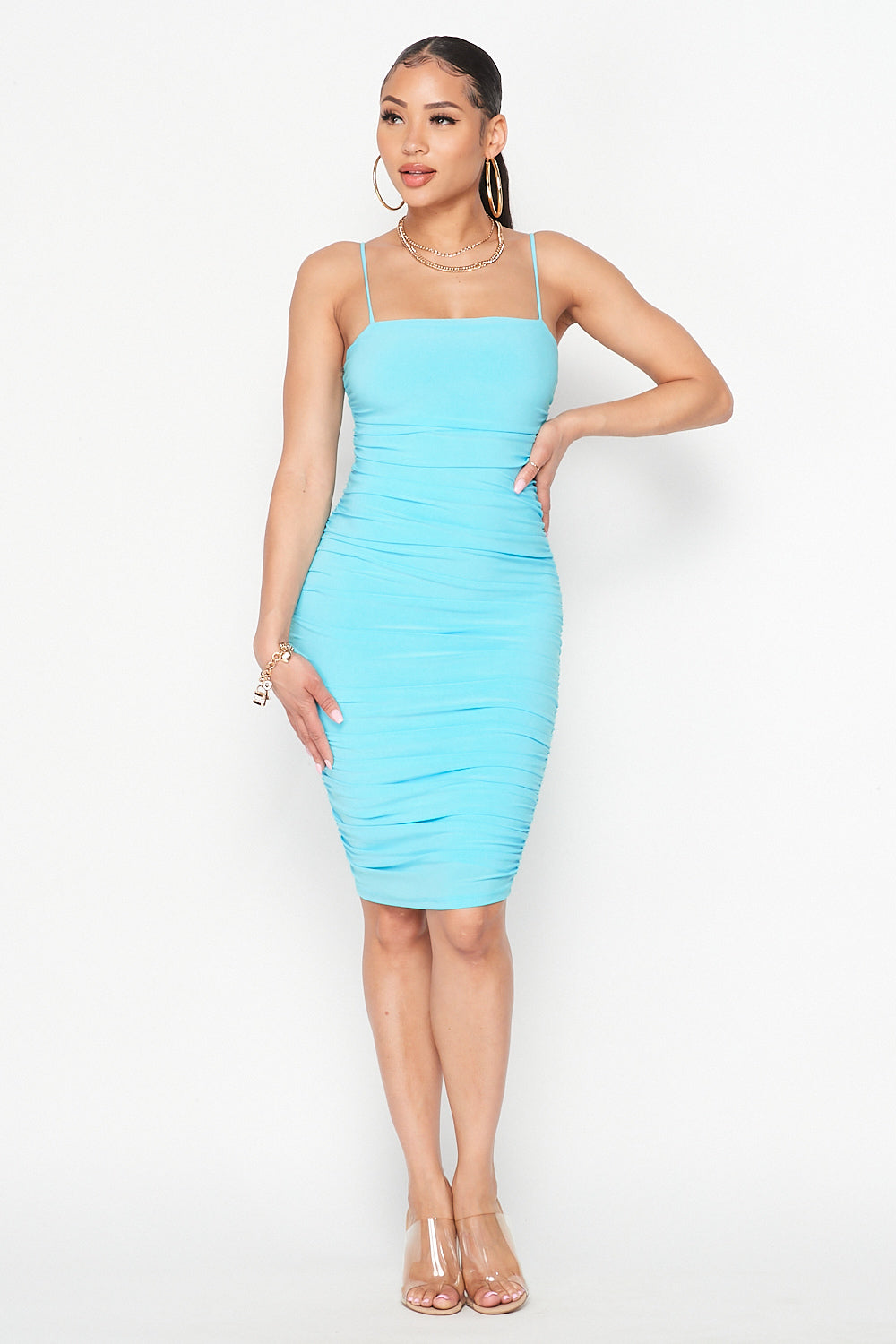 Solid Spaghetti Strap Ruched Midi Dress in Turquoise
