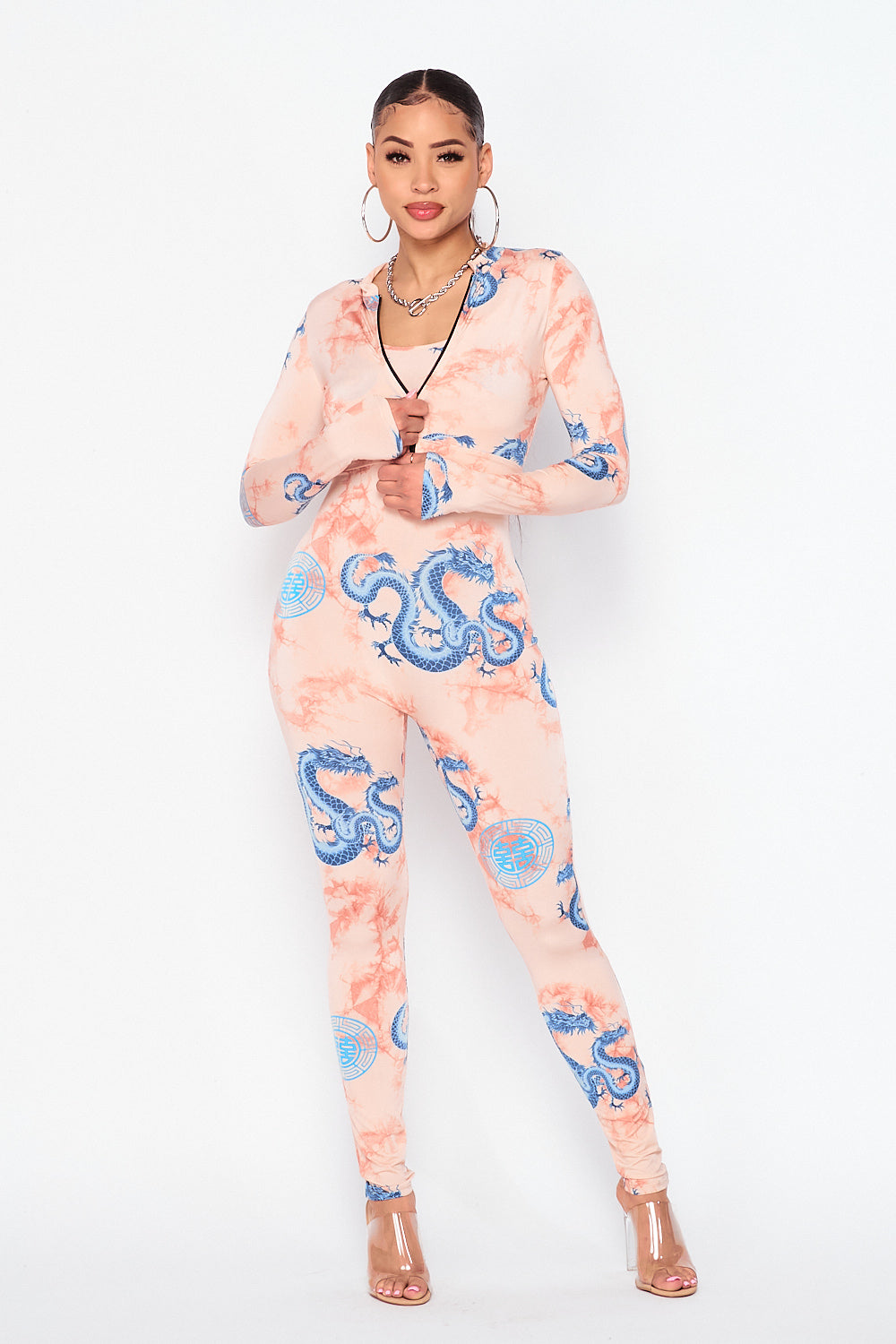 Dragon Print Spaghetti Strap Jumpsuit and Jacket Set - Fashion House USA