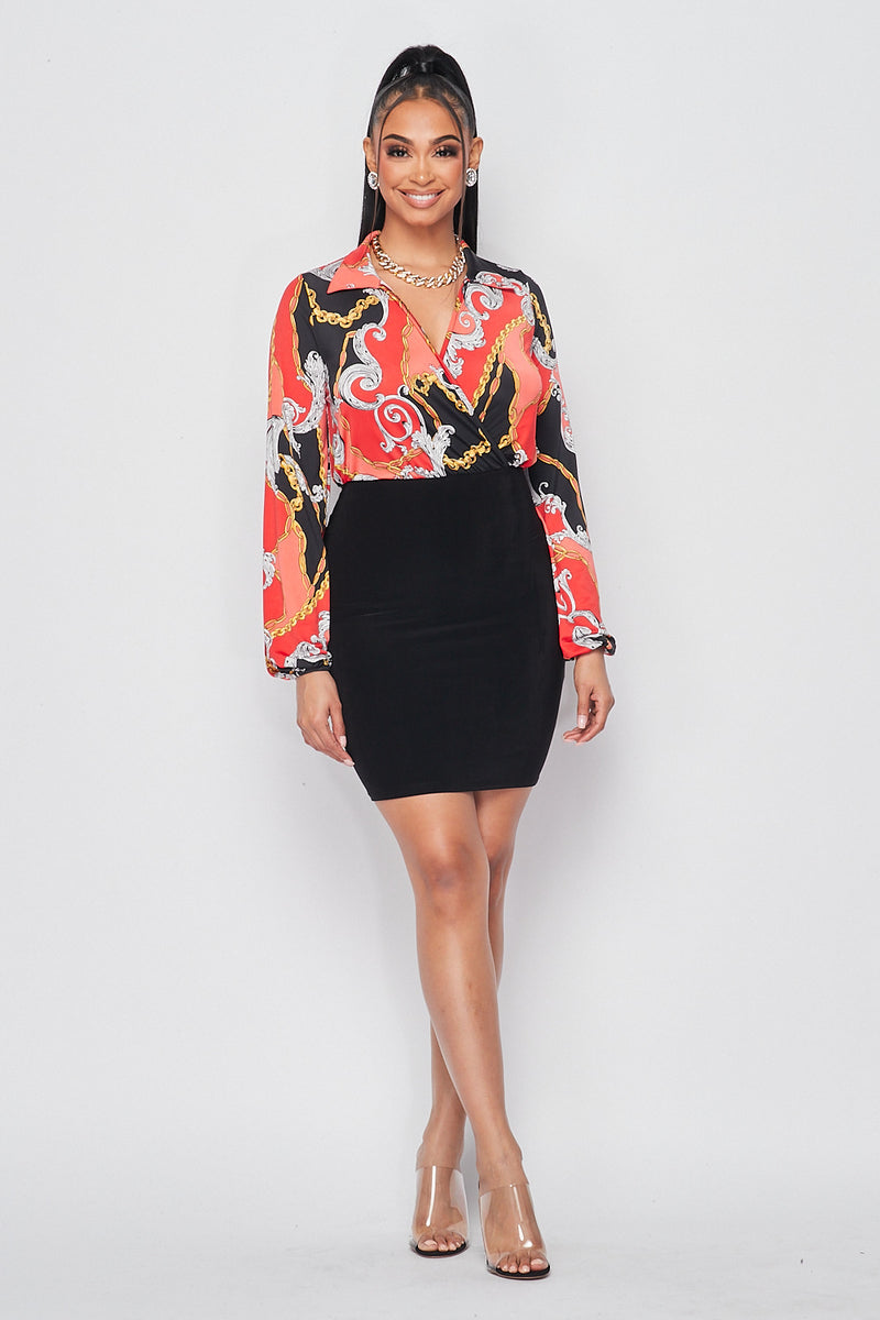 Surplice Printed Blouse with Solid Skirt Dress - Fashion House USA