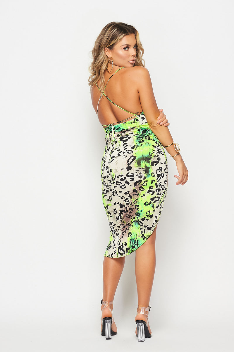 Ruched Side Open Leopard Dress-GREEN - Fashion House USA