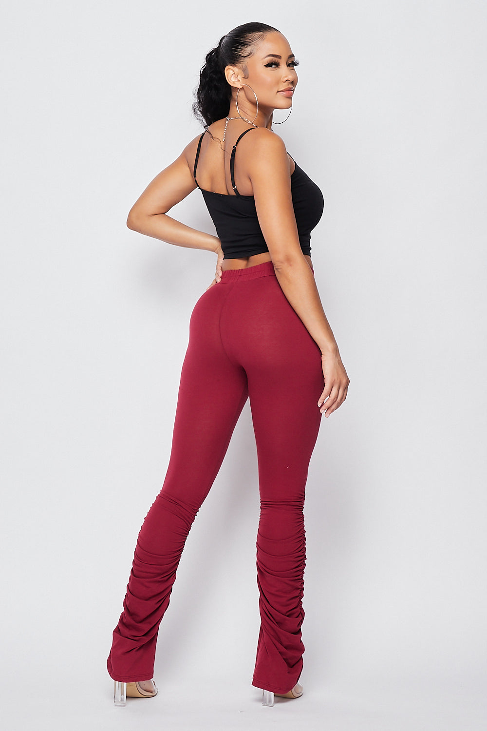Sexy Front Tie Ruched Pants-BURGUNDY - Fashion House USA