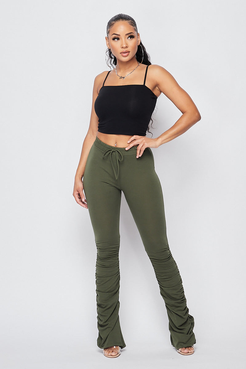 Sexy Front Tie Ruched Pants-OLIVE - Fashion House USA