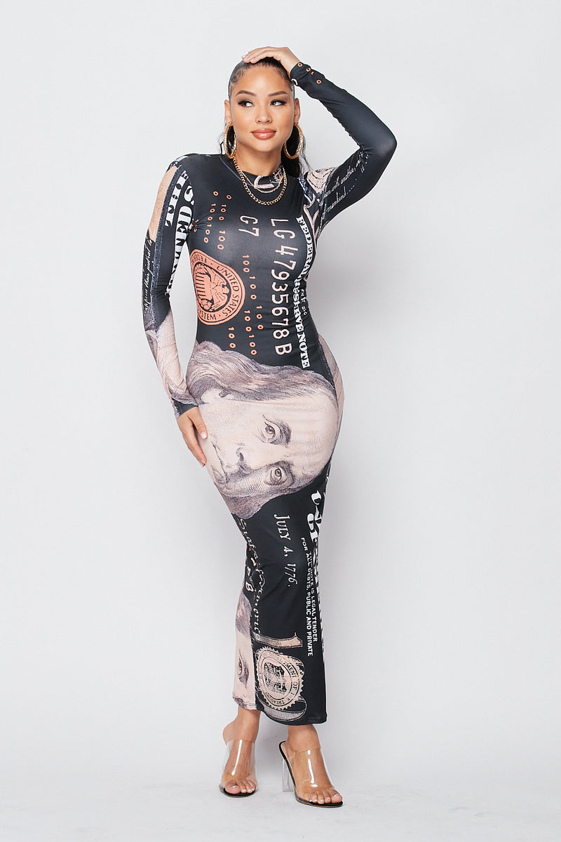 Stretchy Money Talks Maxi Dress with Sleeves in Black - Fashion House USA