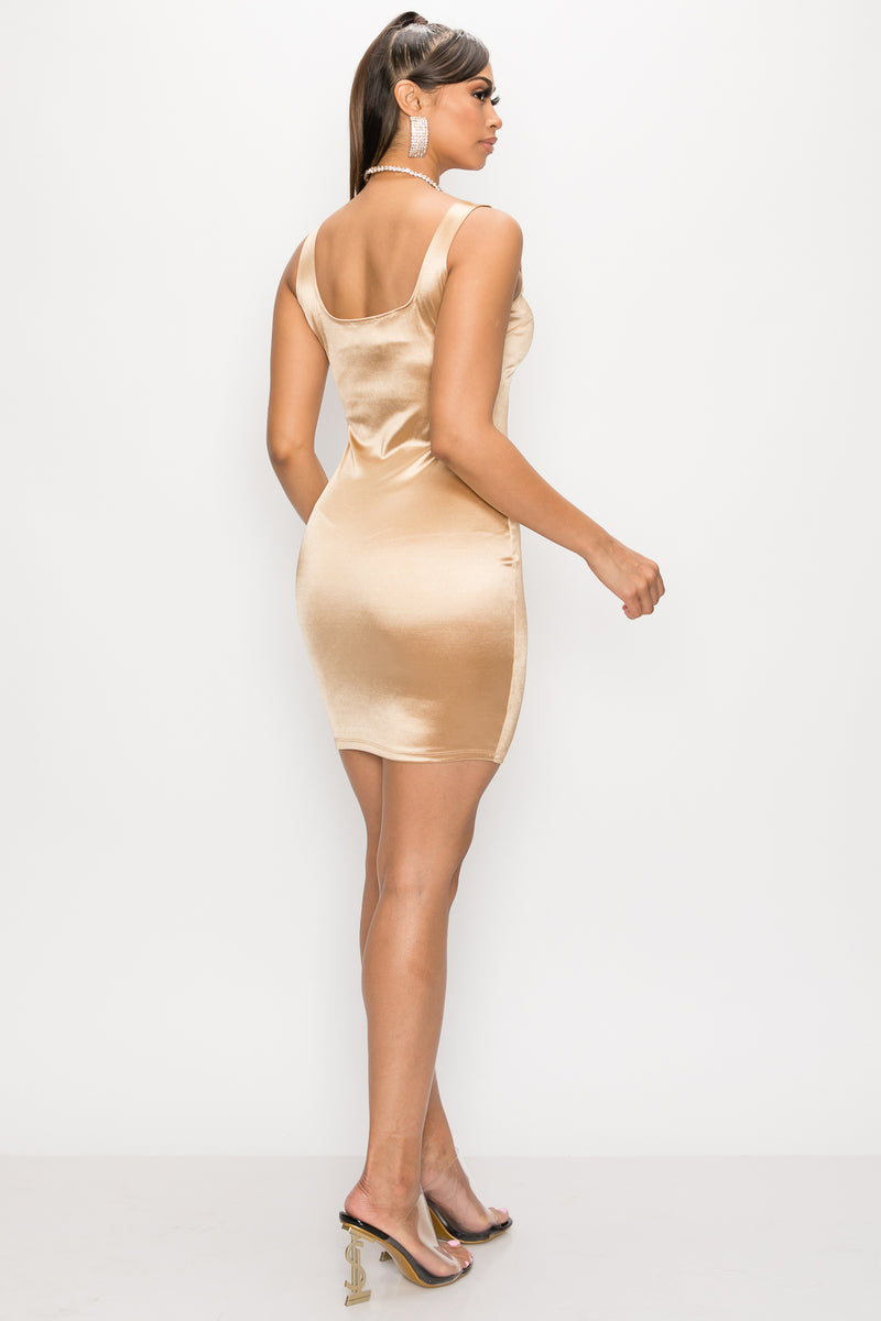 Satin MIni Dress - Fashion House USA