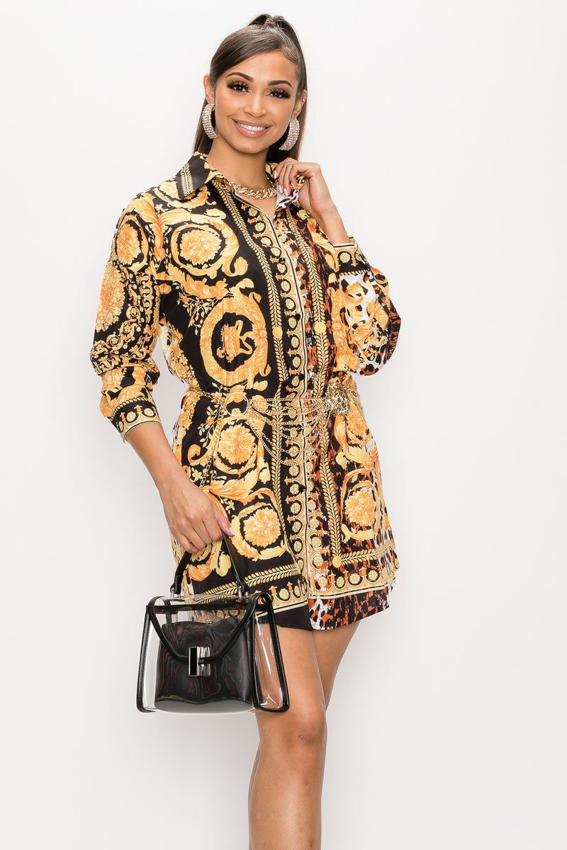 Vintage Print Shirts Dress - Fashion House USA