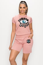 Just One Eye Knit Short Set - Fashion House USA