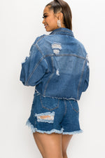 Distressed Crop Denim Jacket - Fashion House USA