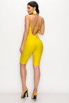 Lace Biker Short Romper-YELLOW - Fashion House USA