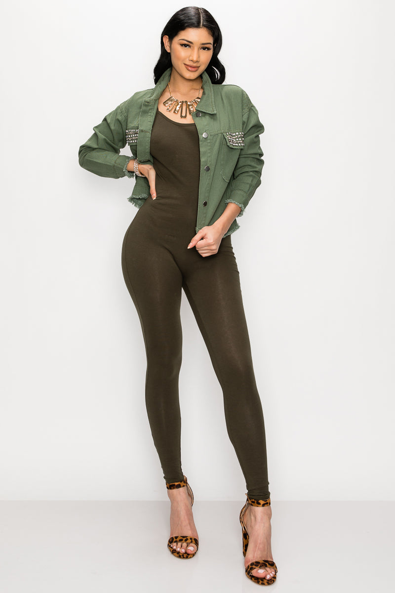Classic Selfie Jumpsuit-OLIVE - Fashion House USA