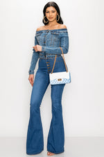 Blue Denim Flare Jean - Fashion House USA
