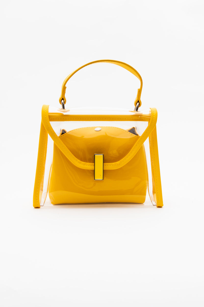 Clear Satchel Purse in Yellow - Fashion House USA