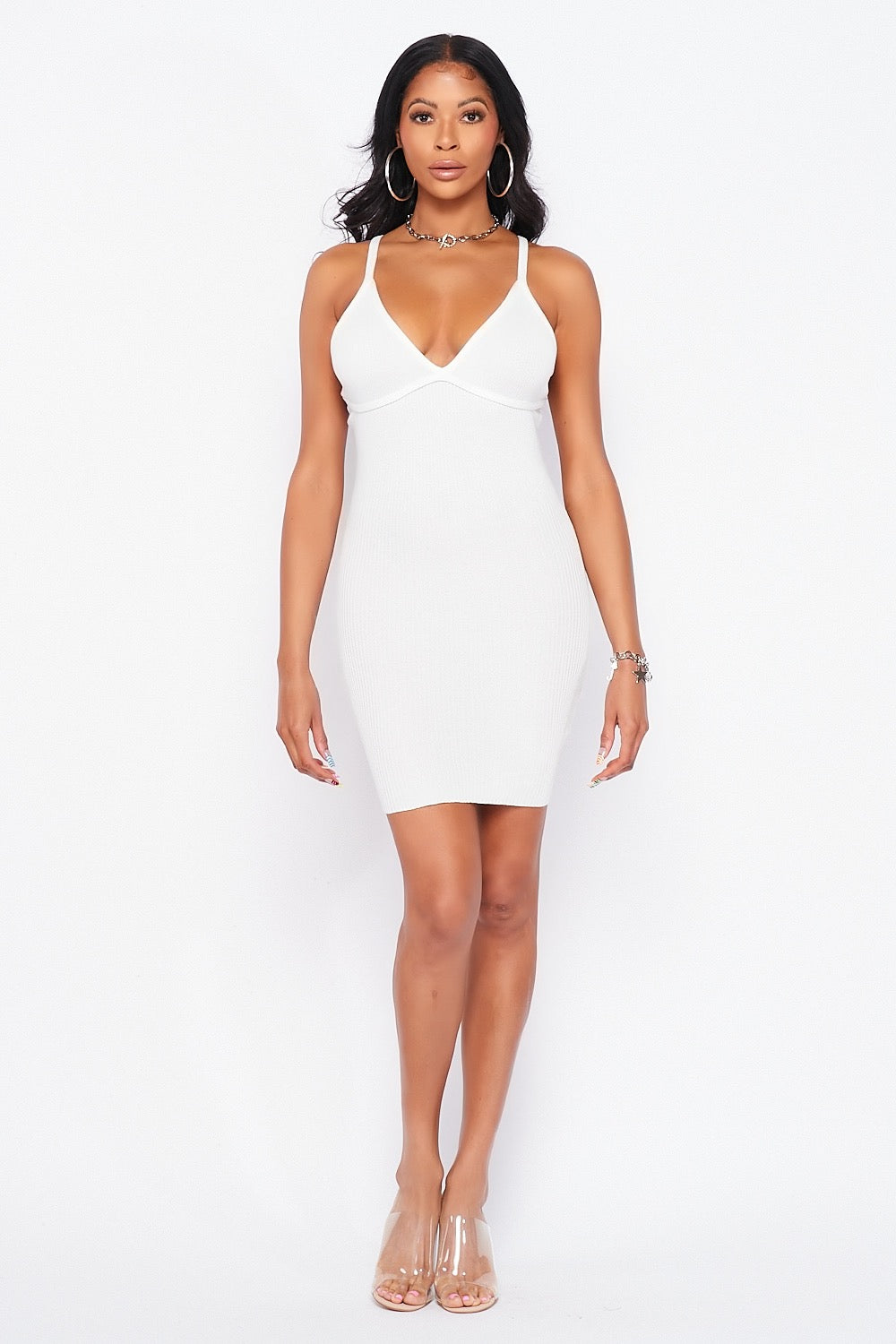 Soft Ribbed Spaghetti Strapped Bodycon Mini Dress in White - Fashion House USA