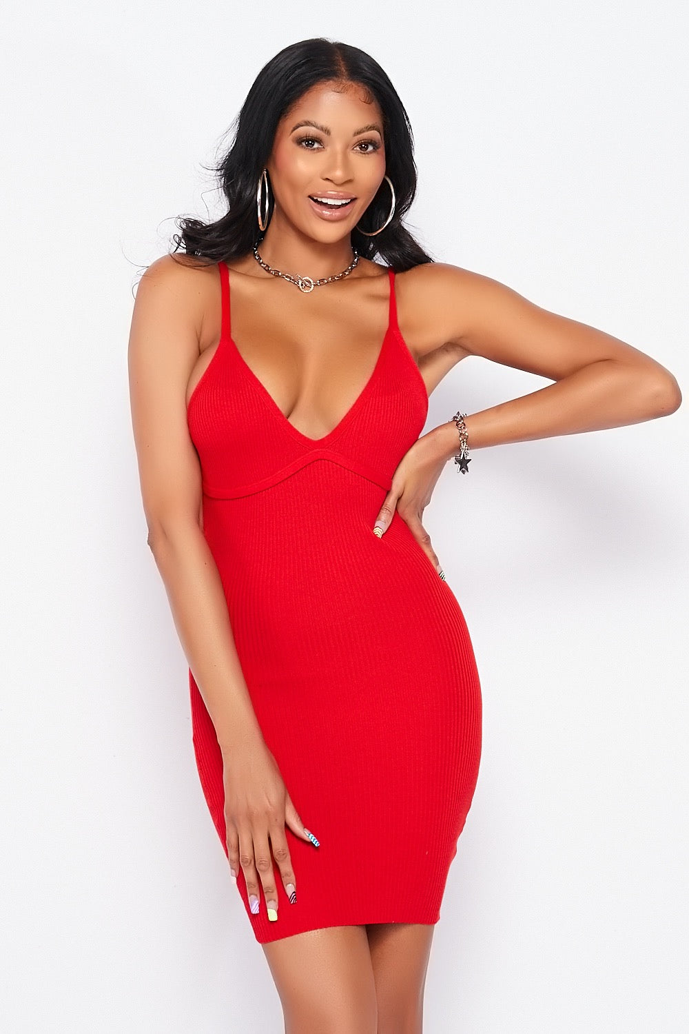 Soft Ribbed Spaghetti Strapped Bodycon Mini Dress in Red - Fashion House USA