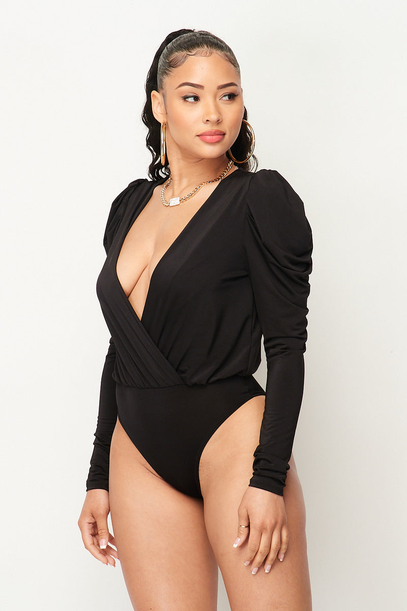 Bubble Shoulder Long Sleeve Surplice Bodysuit in Black - Fashion House USA