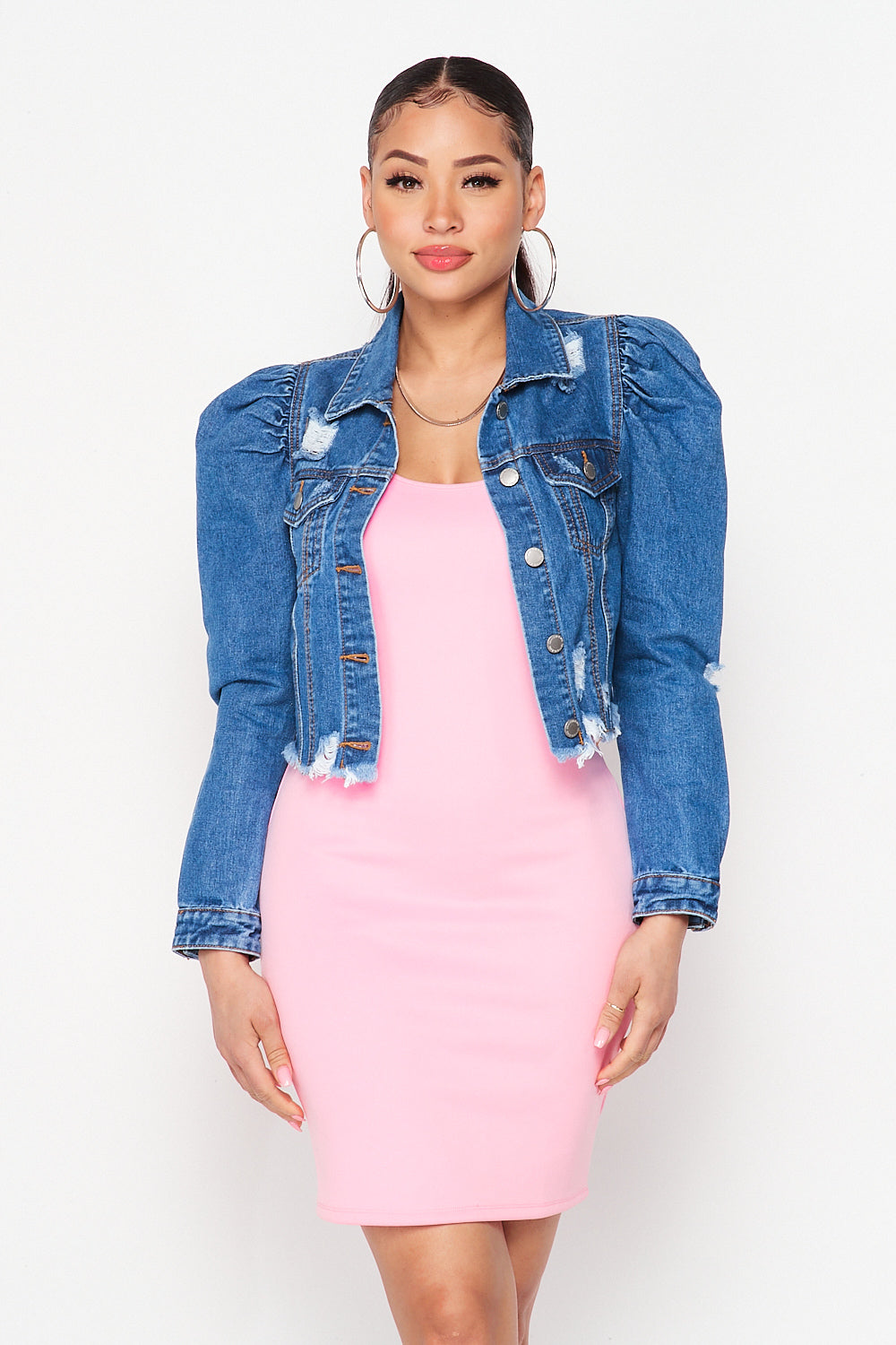 Puff Sleeve Denim Jacket in Medium Blue - Fashion House USA