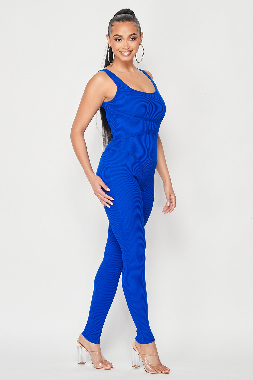 Hold Me Knit Jumpsuit in Royal