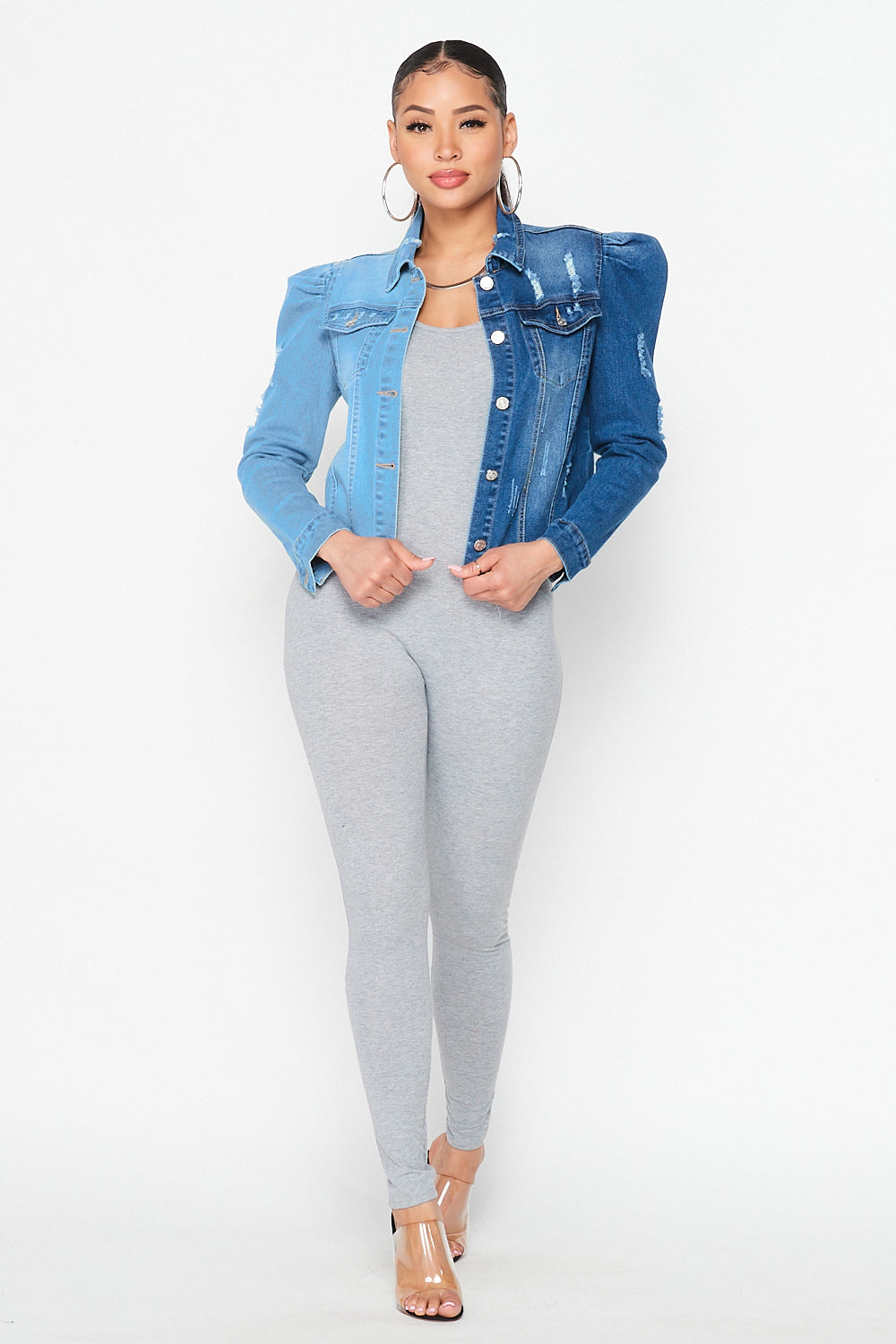 Half Half Two Tone Puff Sleeve Denim Jacket - Fashion House USA