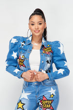 Super Star Graphic Printed Bubble Sleeves Denim Jacket - Fashion House USA