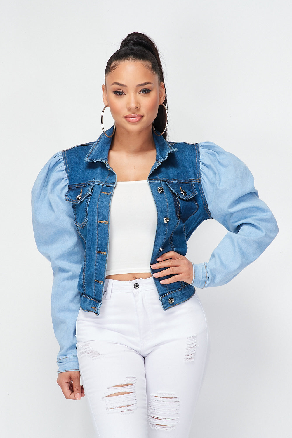 Two Tone Bubble Shoulder Denim Jacket - Fashion House USA