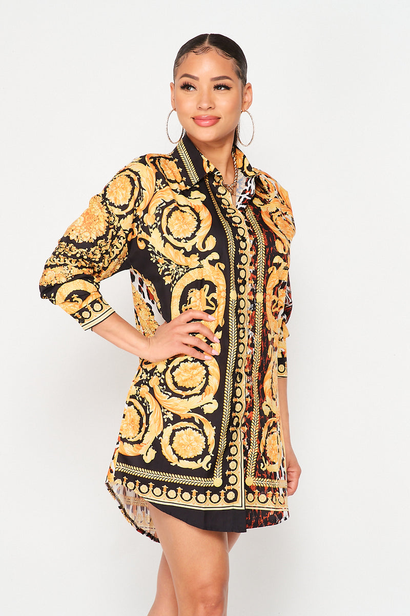 Gold Chain Leopard Print Shirt Dress - Fashion House USA