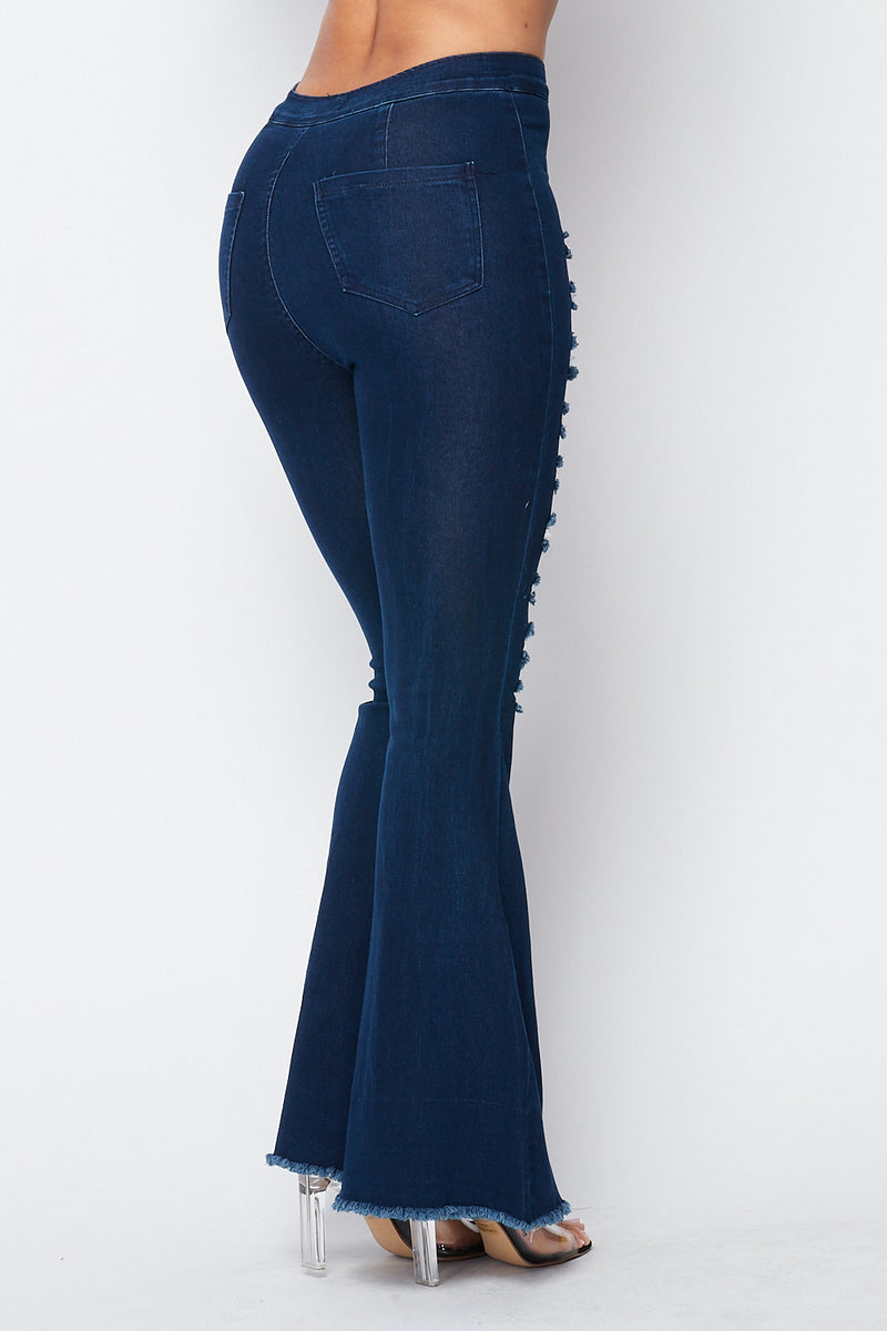 Ribbed Bell Bottom Jeans in Dark Denim - Fashion House USA