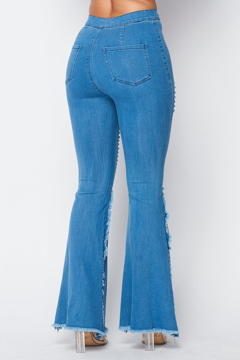Distressed Bell Bottom Jeans in Medium Blue - Fashion House USA
