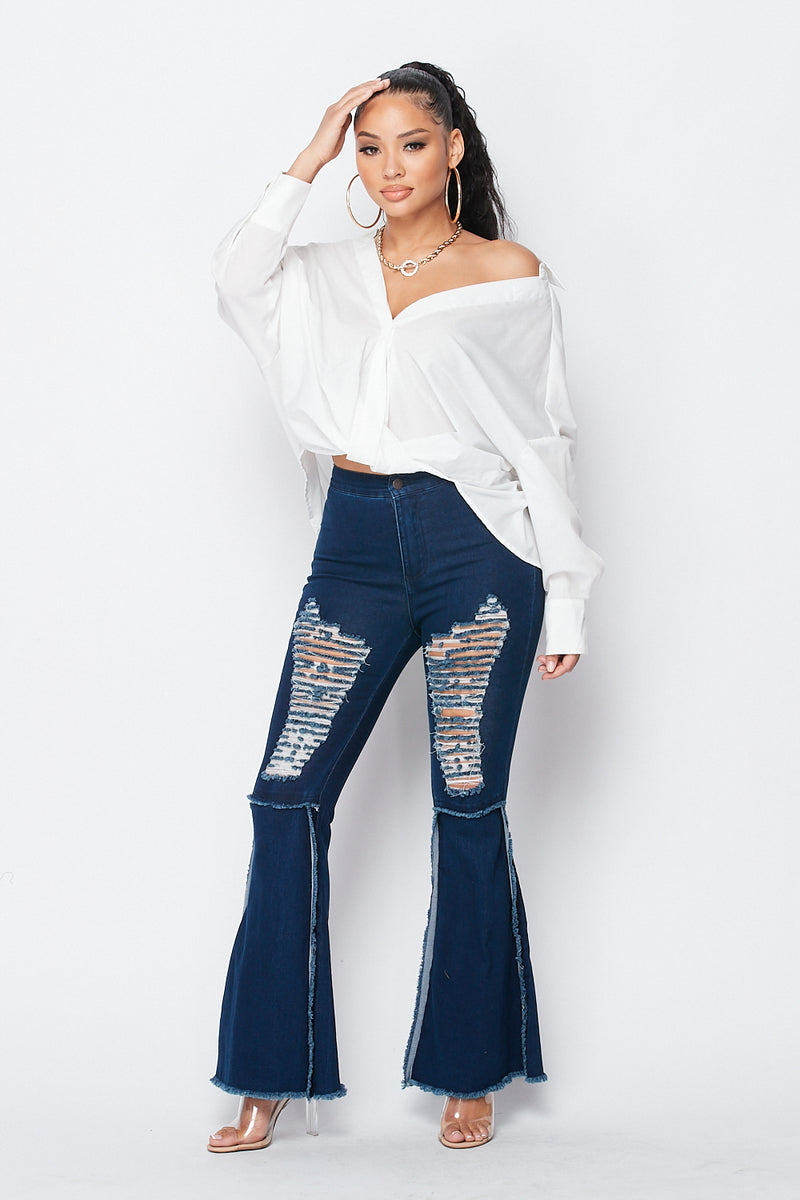 Distressed Bell Bottom Jeans in Dark Denim - Fashion House USA