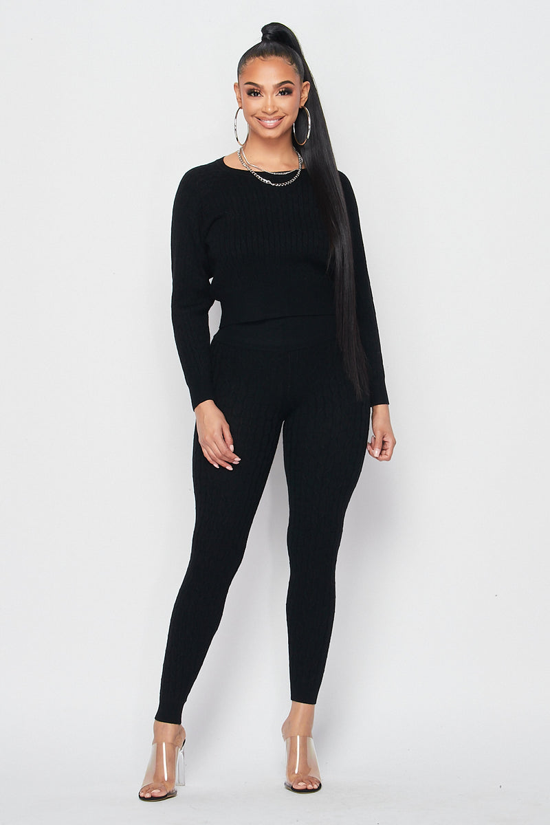Fitted Cable Detailed Knit Set in Black - Fashion House USA