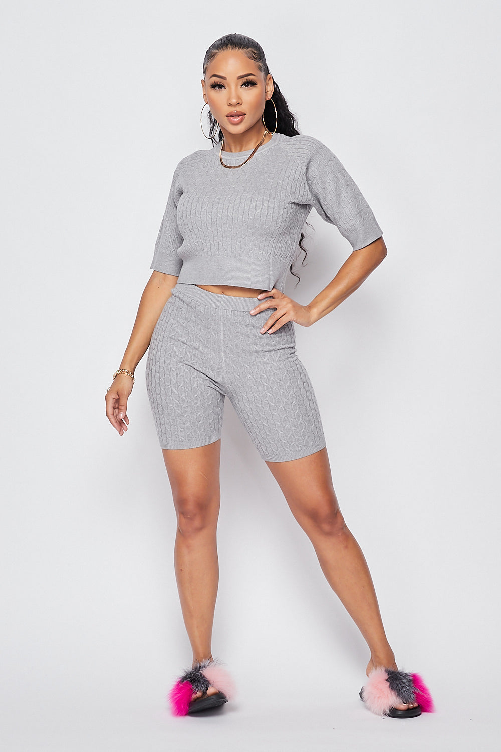 Sexy Knit Crop top w/ High Waist Biker Shorts-H.GREY - Fashion House USA