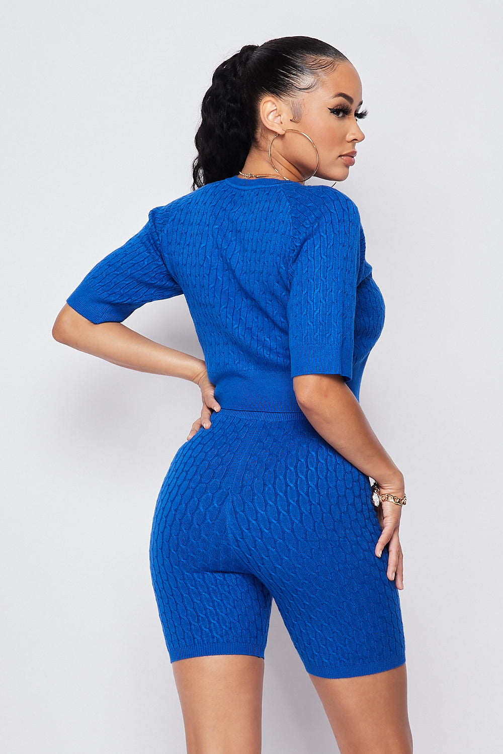 Sexy Knit Crop top w/ High Waist Biker Shorts-ROYAL BLUE - Fashion House USA