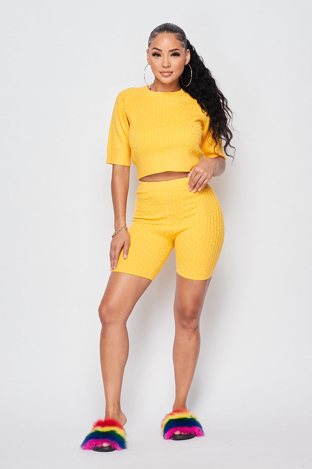 Sexy Knit Crop top w/ High Waist Biker Shorts-MANGO - Fashion House USA