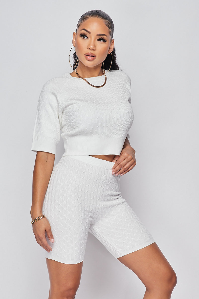 Sexy Knit Crop top w/ High Waist Biker Shorts-IVORY - Fashion House USA