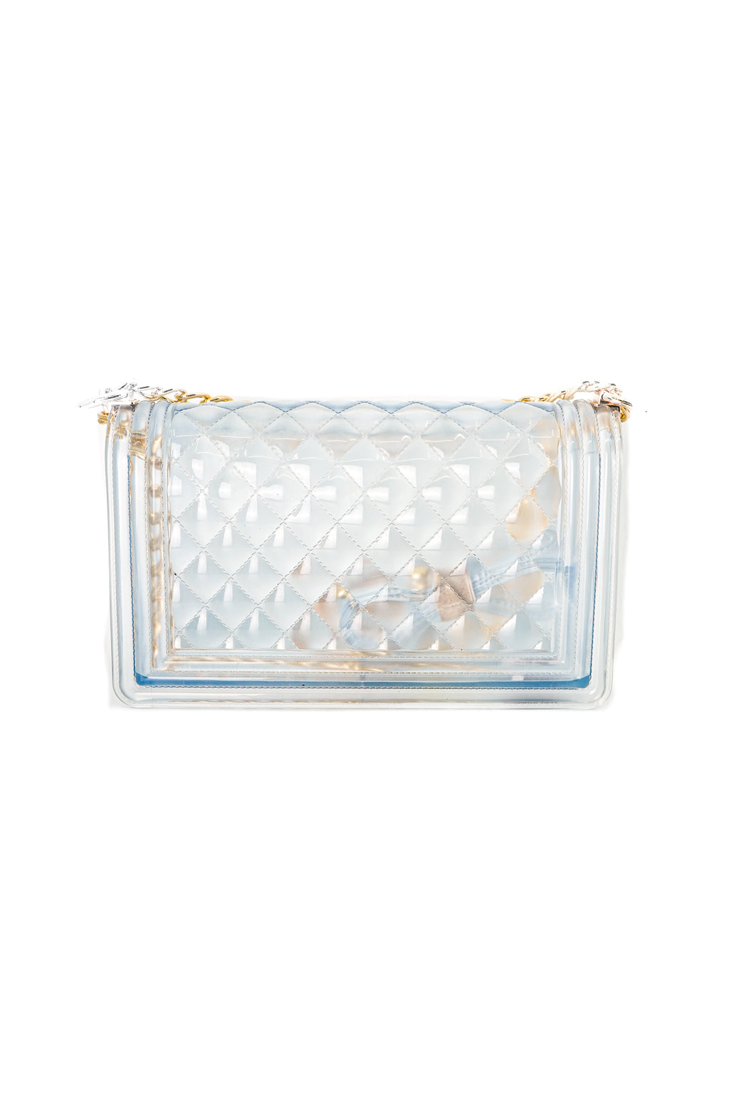 Clear Color Quilted Jelly Crossbody Shoulder Bag with Metal Chain Strap