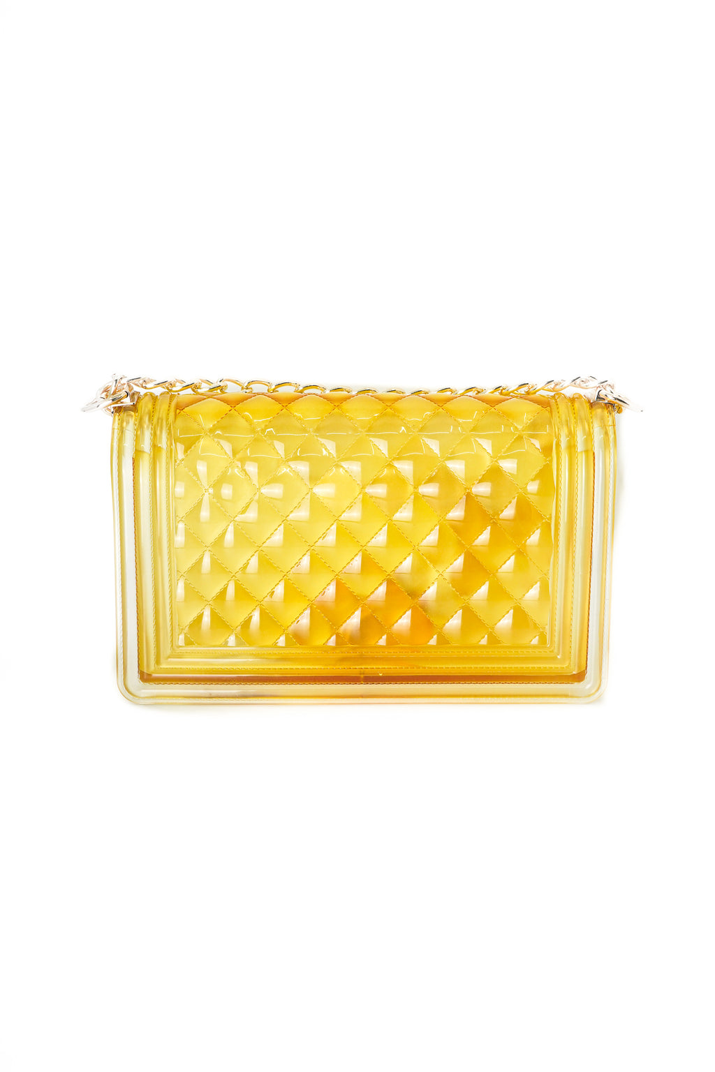 Yellow Clear Color Quilted Jelly Crossbody Shoulder Bag with Metal Chain Strap
