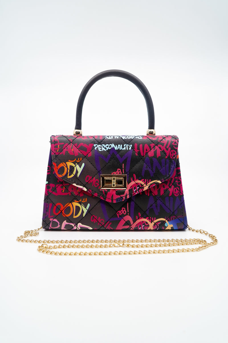 Gradient Graffiti Marker Lettering Handbag in Black - Fashion House USA