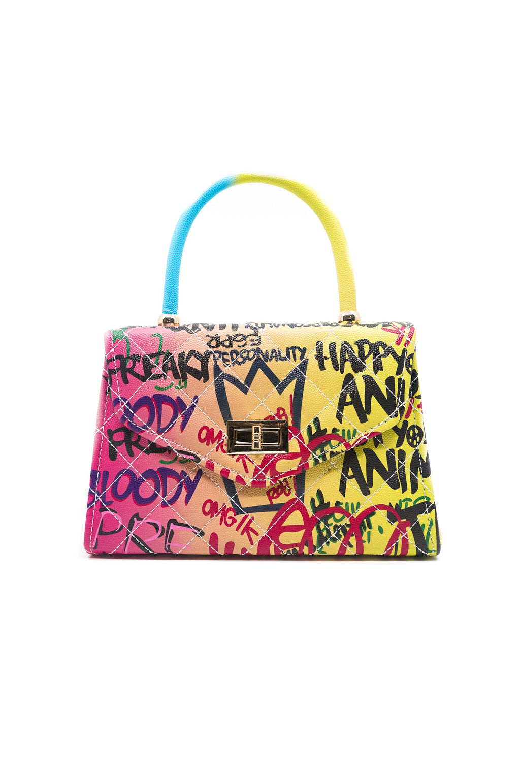 Gradient Graffiti Marker Lettering Handbag in Pink and Yellow - Fashion House USA