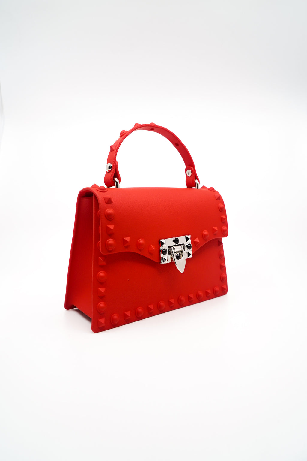Rebel Studded Faux Leather Handbag in Red - Fashion House USA