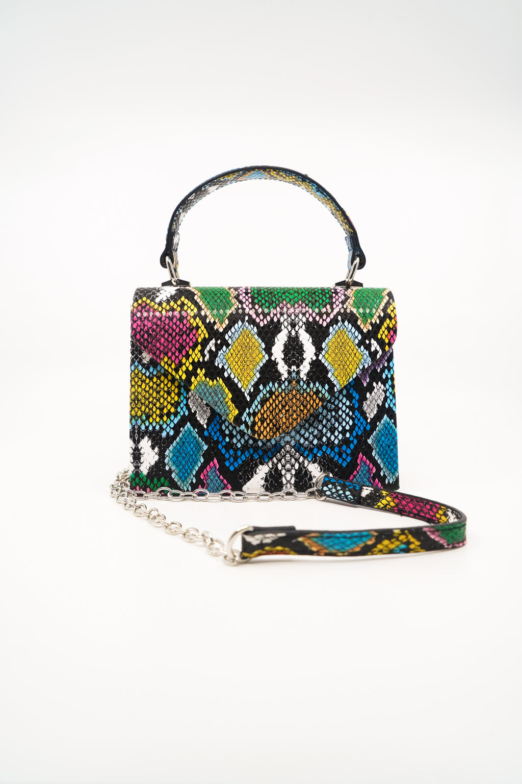 Snakeskin Satchel Bag with Strap in Black/Multi - Fashion House USA