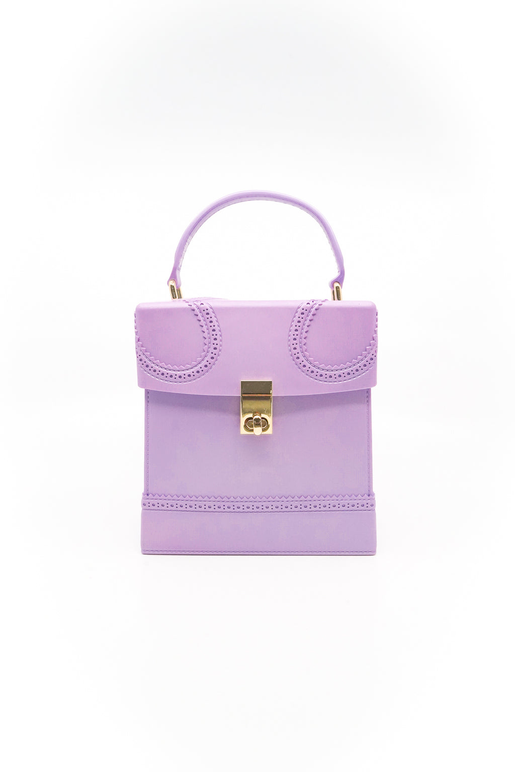 Square Box Jelly Handbag with Handle and Strap in Lavender - Fashion House USA
