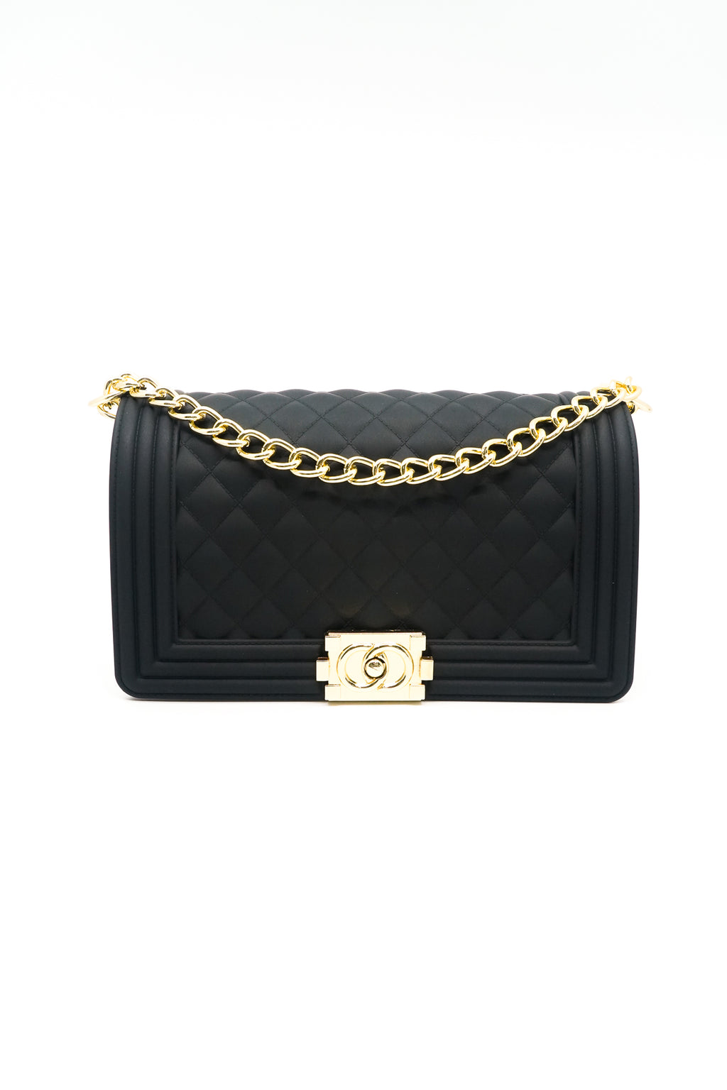 Quilted Crossbody Jelly Bag in Black / White - Fashion House USA