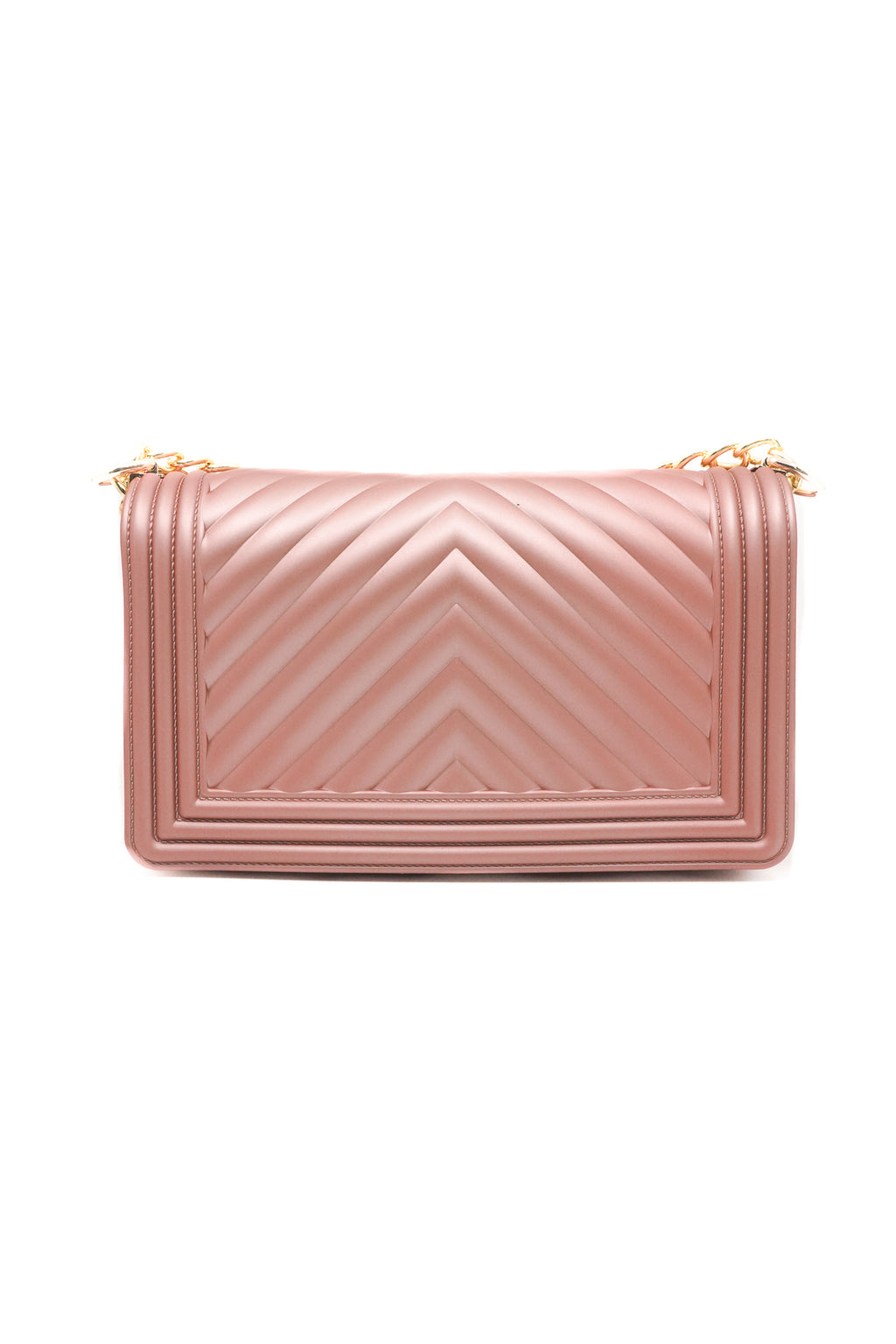 Women Chevron Embossed Frosted Jelly Shoulder V Pattern Bag in Rose Gold