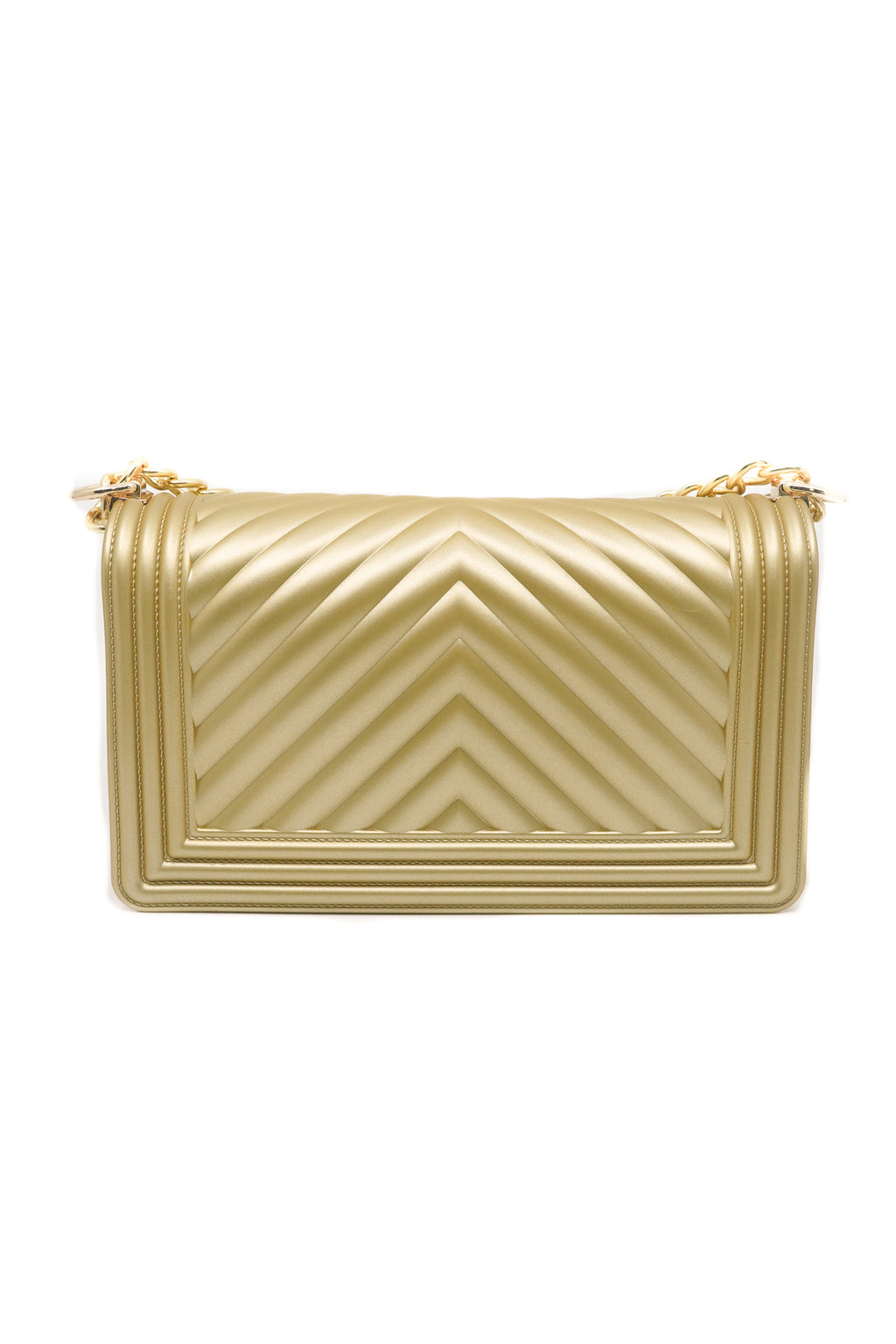 Women Chevron Embossed Frosted Jelly Shoulder V Pattern Bag in Gold