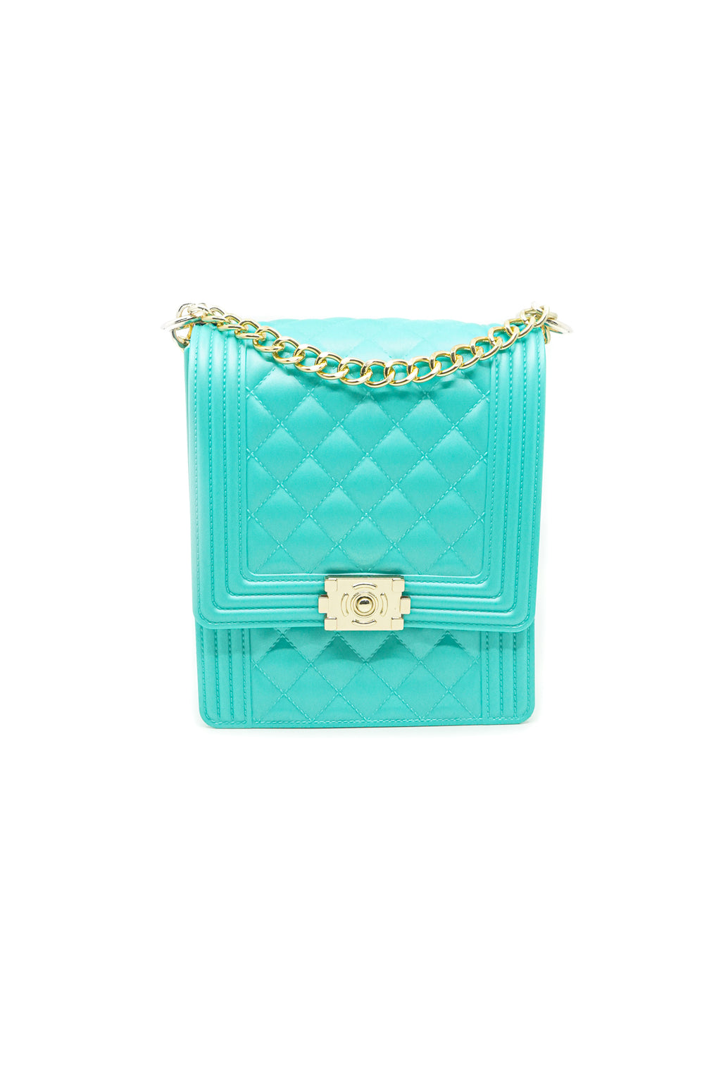 Rectangle Quilted Jelly Bag in Mint Green - Fashion House USA