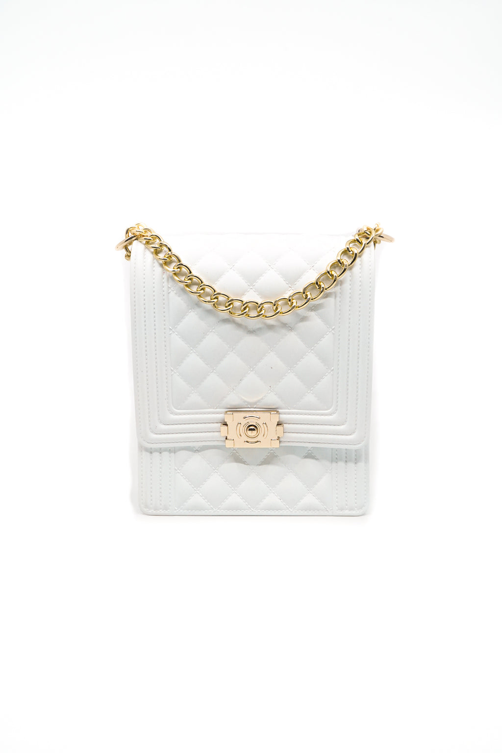 Rectangle Quilted Jelly Bag in White - Fashion House USA