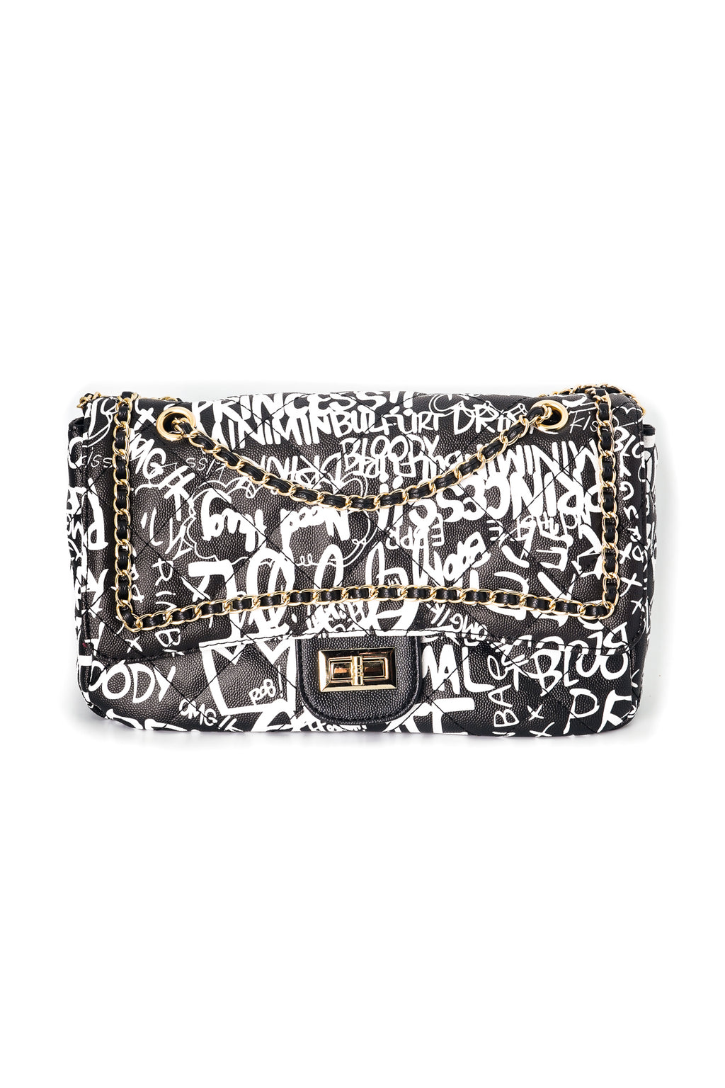 Quilted Graffiti Print Shoulder Bag - Fashion House USA