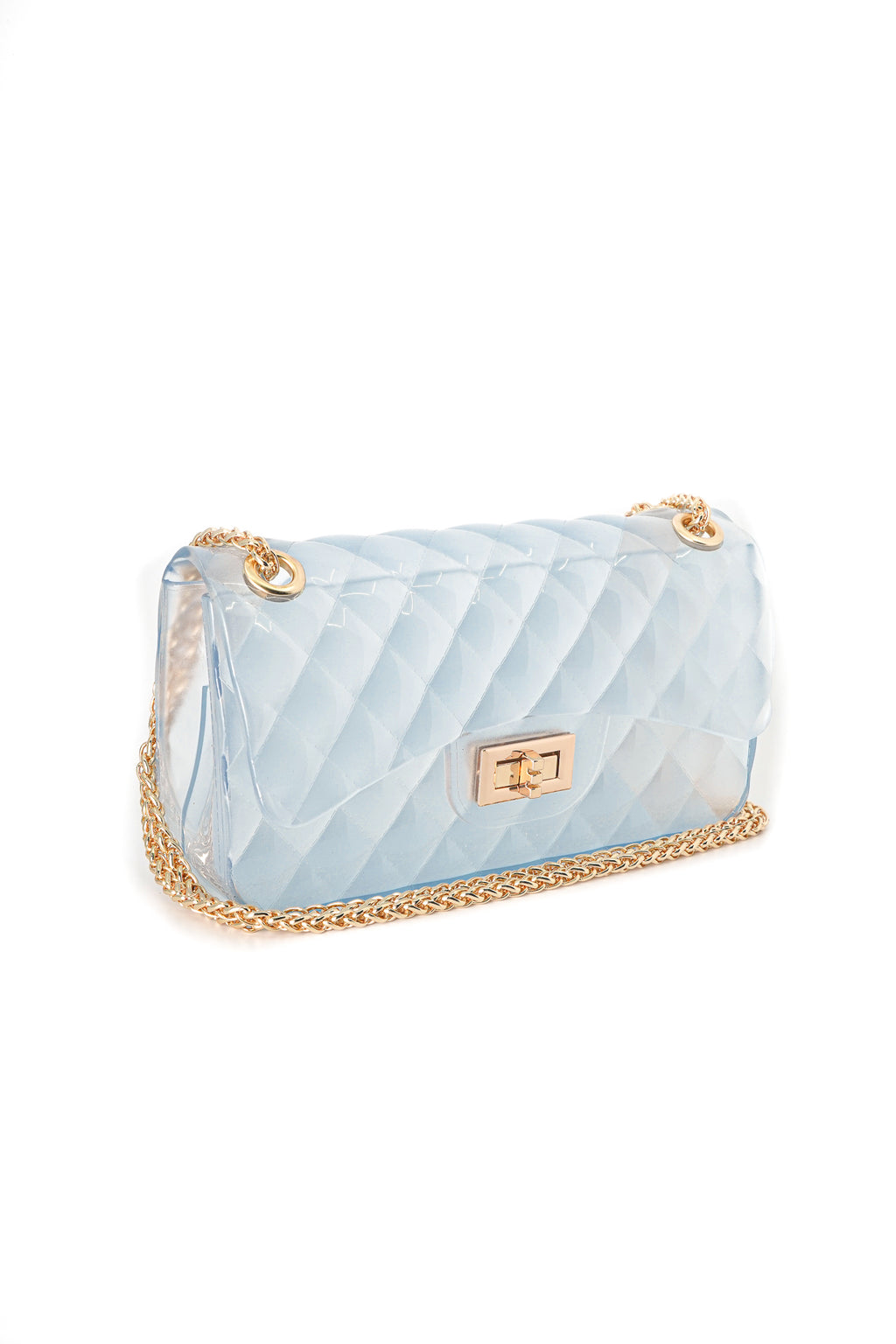 Large Rectangle Quilted Jelly Crossbody Bag with Gold Chain Strap