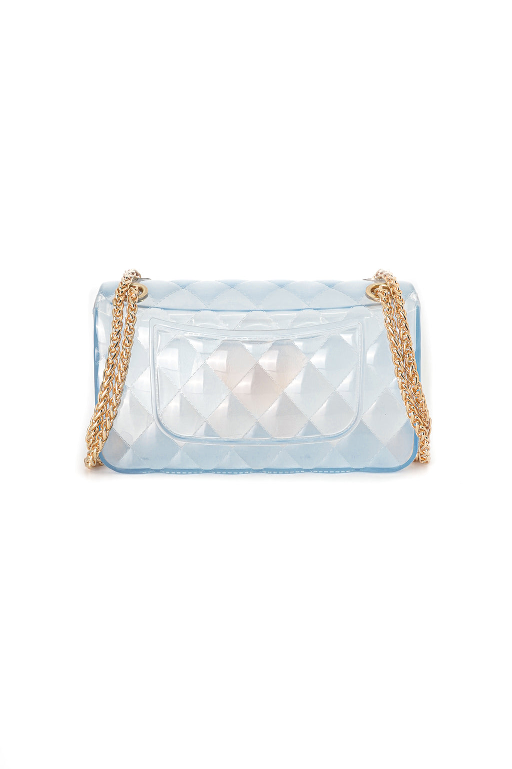 Medium Rectangle Quilted Jelly Crossbody Bag with Gold Chain Strap