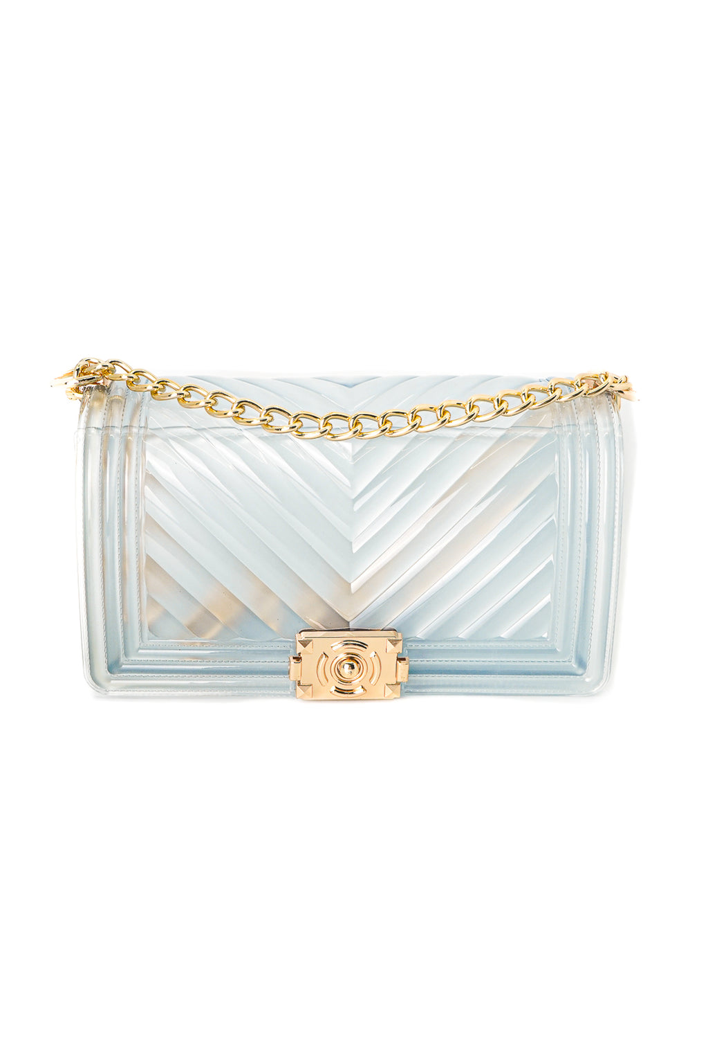 Women Chevron Embossed Frosted Clear Jelly Shoulder V Pattern Bag - Fashion House USA