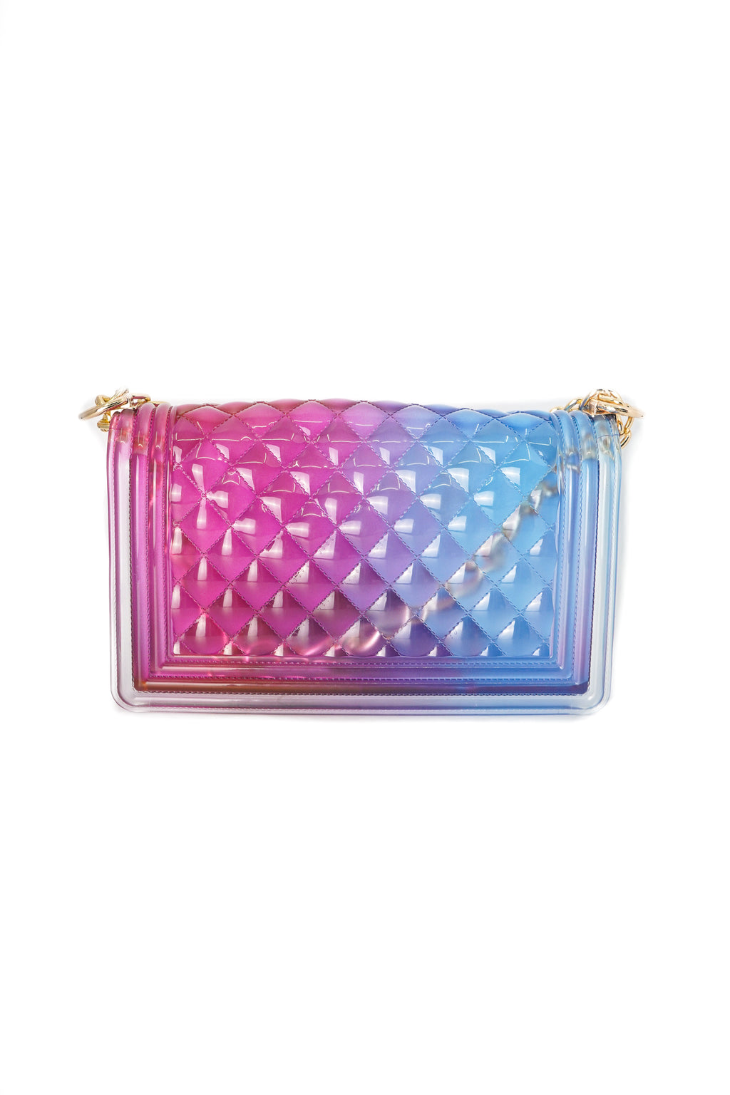 Two Tone Blue and Pink Clear Color Quilted Jelly Crossbody Shoulder Bag with Metal Chain Strap